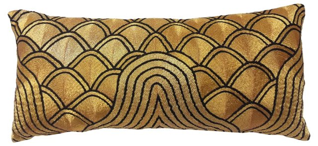 Hand-Embroidered Gold  Deco Pillow
