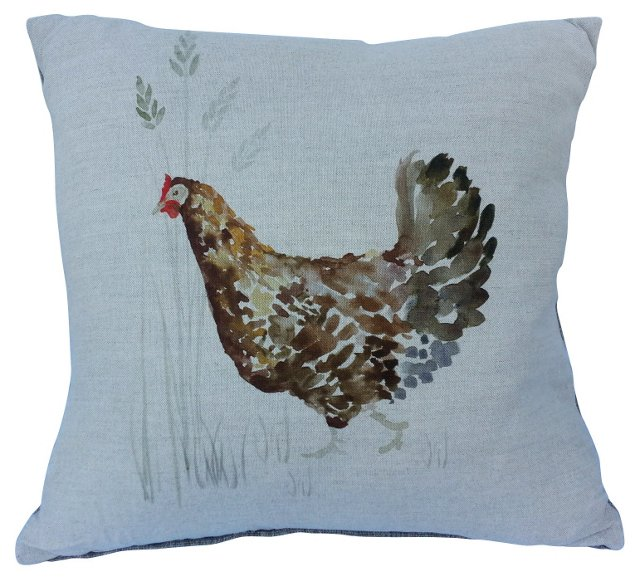 Linen Country Hen Pillow