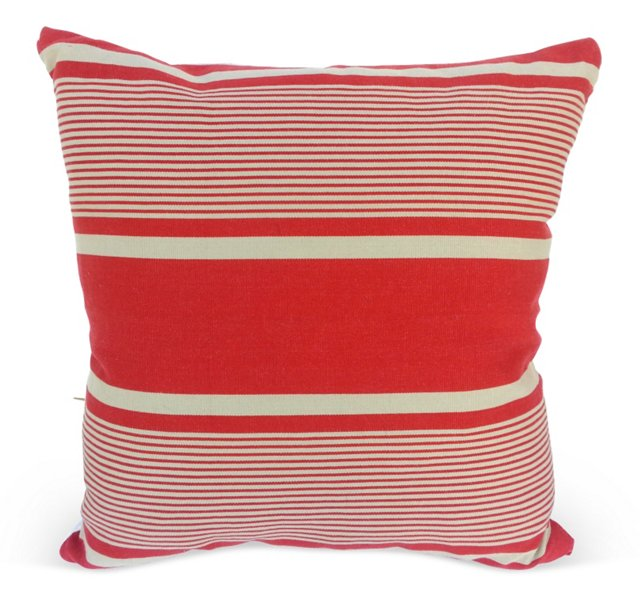 Red  French   Ticking Pillow