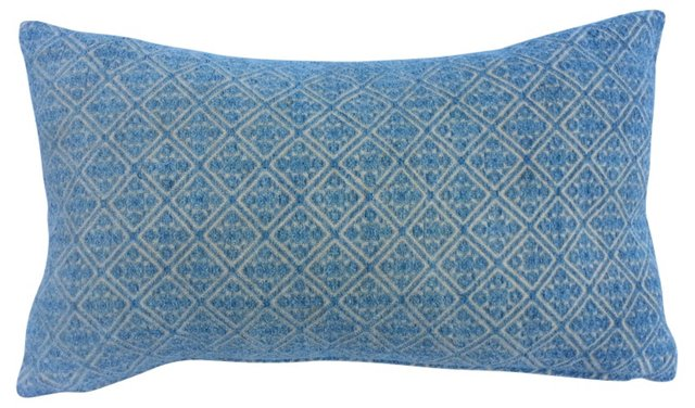 Blue Embroidered Wedding Quilt Pillow