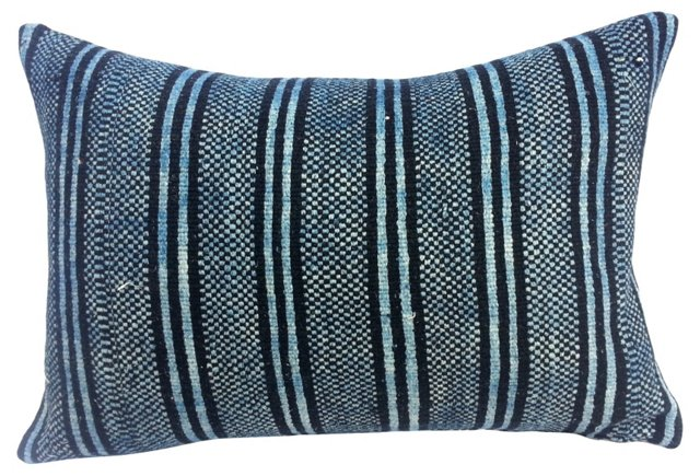 Striped Indigo Homespun Pillow