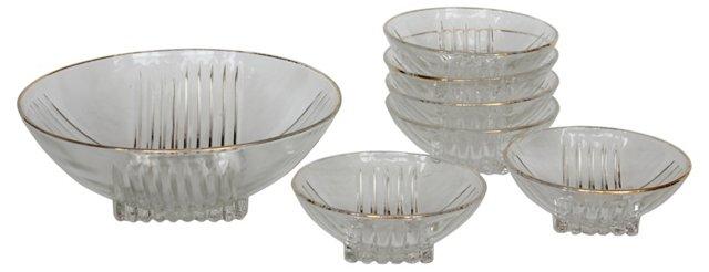 Art Deco Glass Bowls, Set of 7