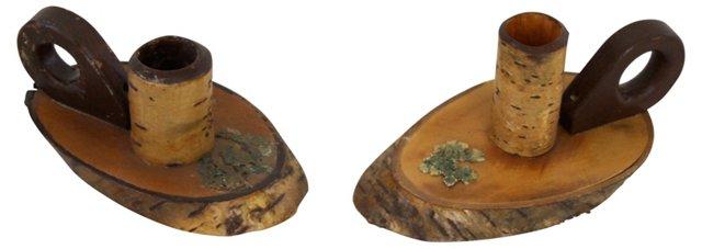 Birch Candlesticks, Pair