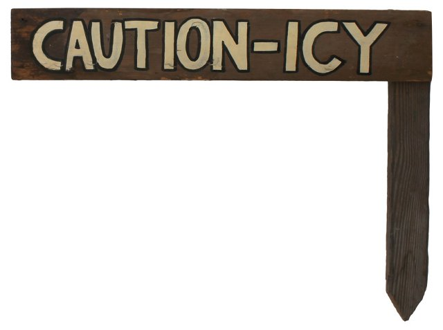 Caution-Icy Staked Sign