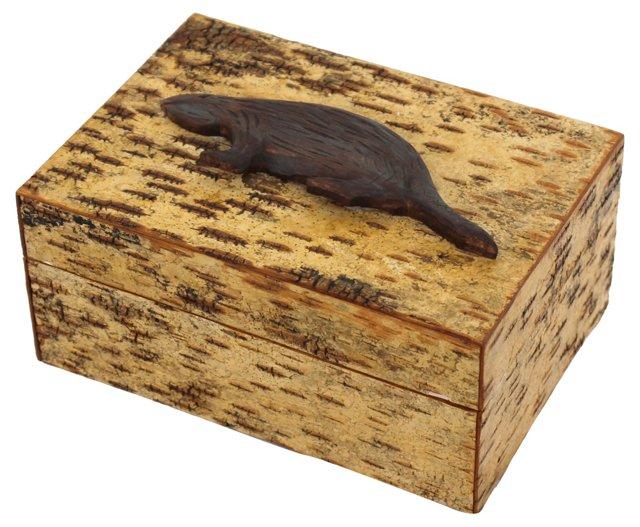 Birch Bark Box w/ Carved Beaver