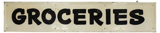 Metal Groceries     Sign