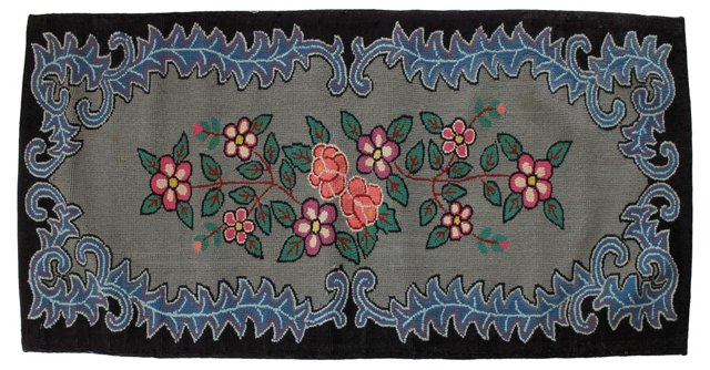 """Floral Hooked Rug, 2'1"""" x 5'1"""""""