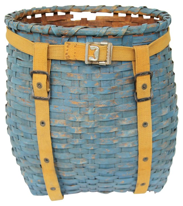 Blue-Painted Pack Basket