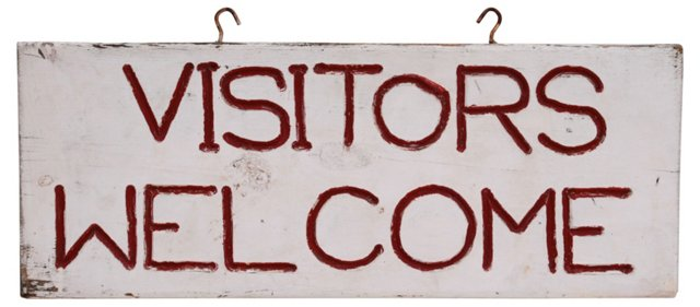 Visitors Welcome Sign