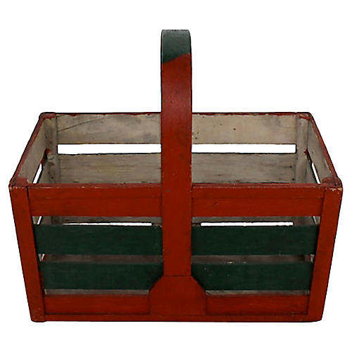 Red/Green Wood Basket