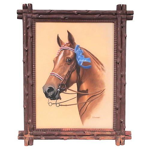 Horse Portrait w/ Hand-Carved Wood Frame