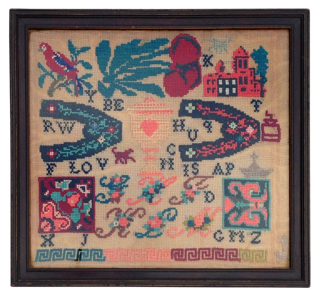 Midcentury Bird Needlepoint Sampler