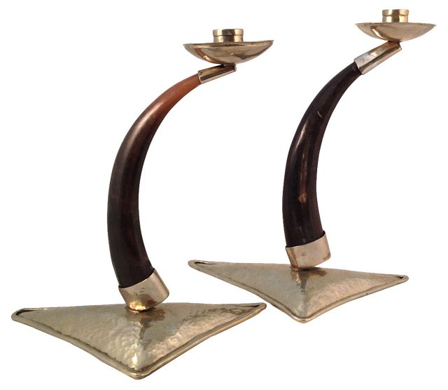 Horn & Silverplate Candleholders, Pair