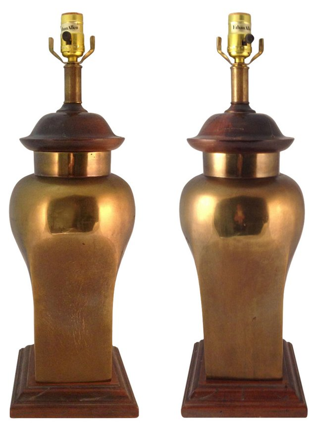 Wood & Brass Lamps, Pair