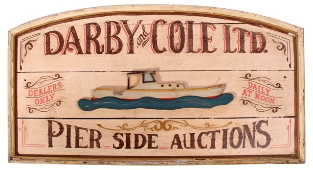 Hand-Painted Nautical Auction Sign
