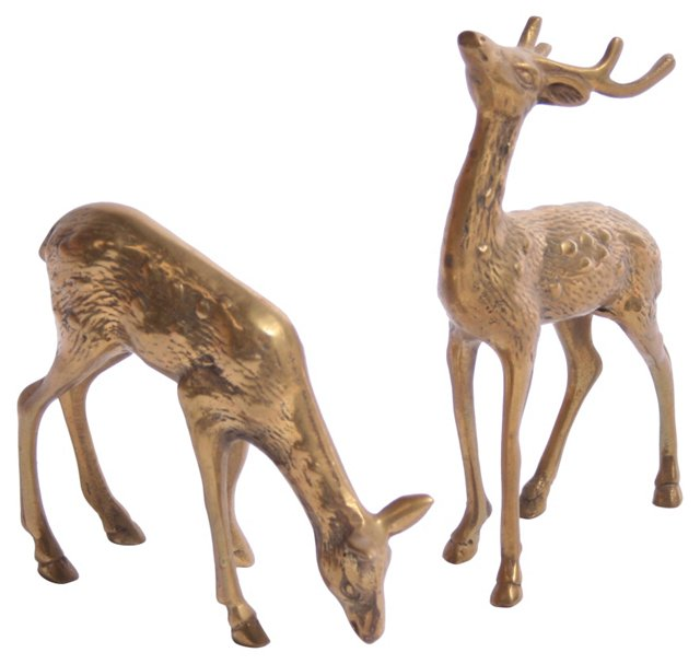 Brass Deer, Pair