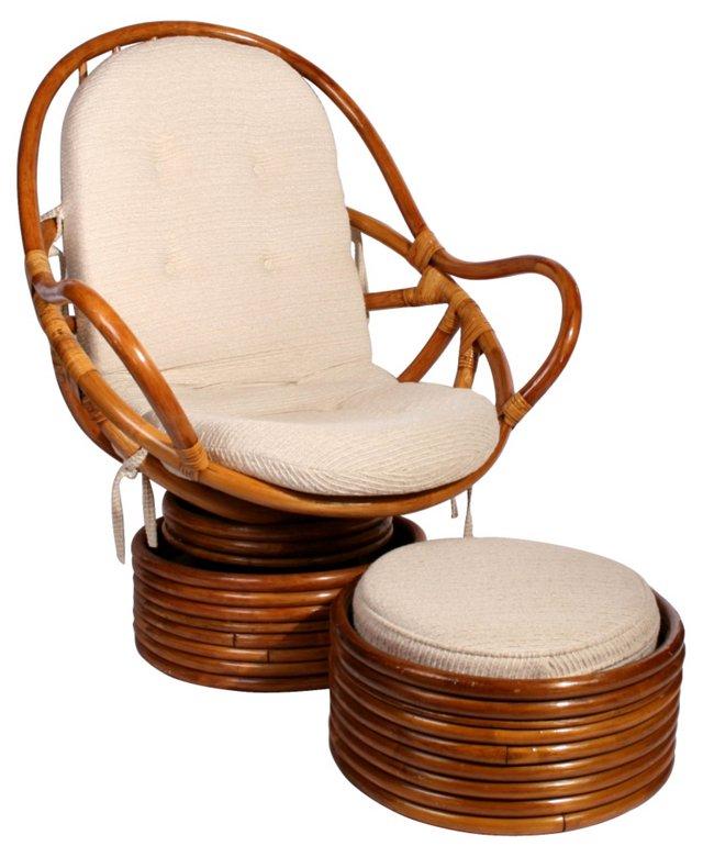 Rattan Rocking Armchair & Ottoman