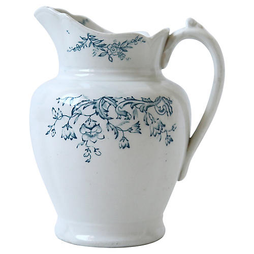 Small White Pitcher with Blue Florals