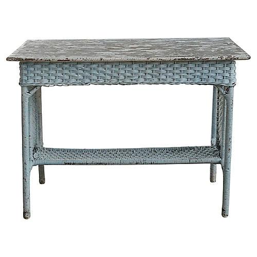 Blue Wicker Side Table