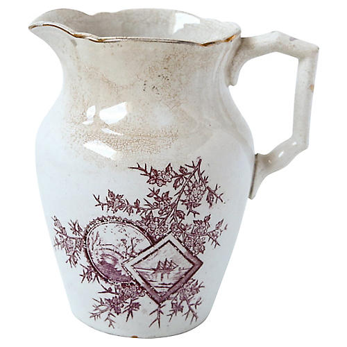 Ceramic Pitcher with Violet Detail