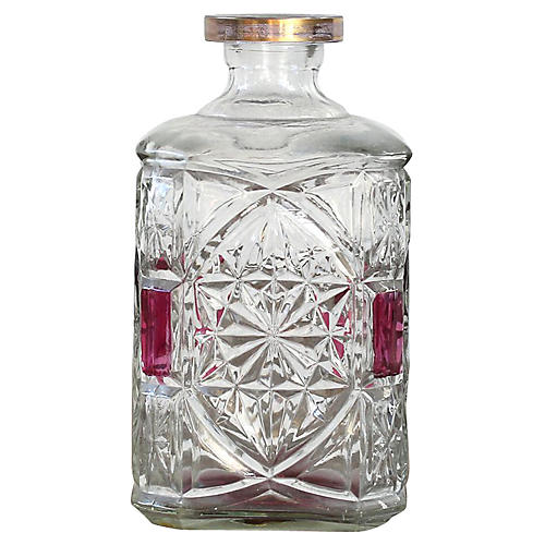Crystal Decanter W/ Red Accent