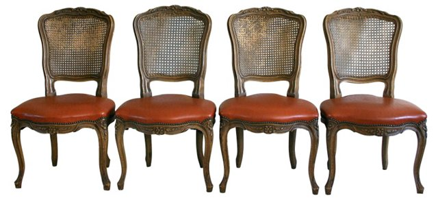 Provençal-Style Caned Chairs, S/4