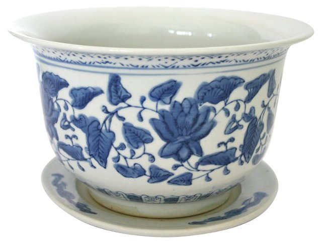 Blue & White Planter with Plate
