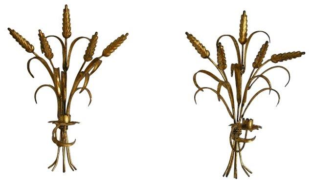 Wheat Sconces, Pair