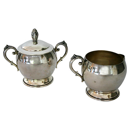 Silver-Plate Cream & Sugar Set