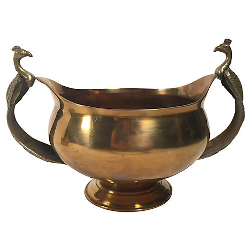 Brass Compote w/ Peacock Handles