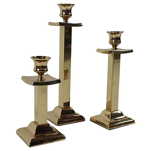 Brass Pagoda Candleholders, S/3