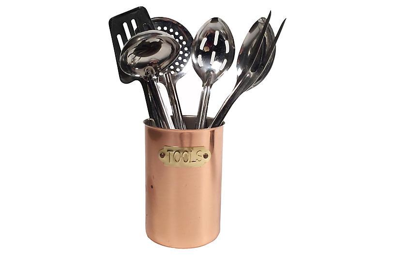 Copper Kitchen Utencils & Canister, s/6