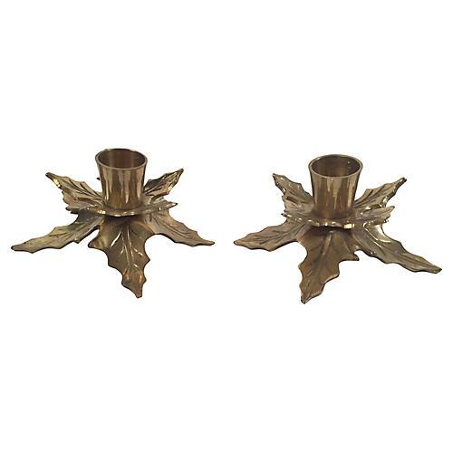 Brass Mistletoe Candleholders, Pair