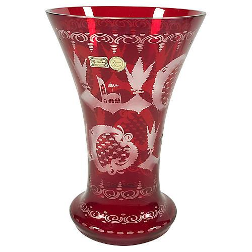 Bohemian Cranberry Crystal Vase