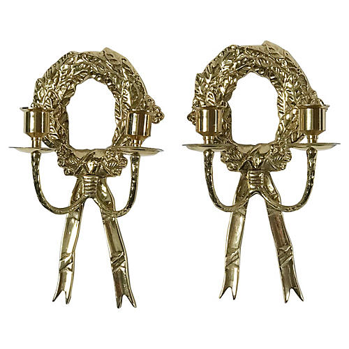Brass Wreath Sconces, Pair