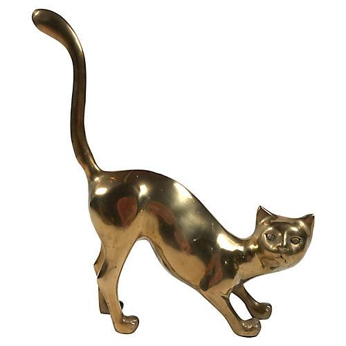 Large Brass Cat