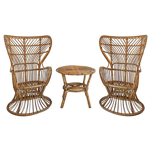 Franco Albini Table & Chairs, 3 Pcs