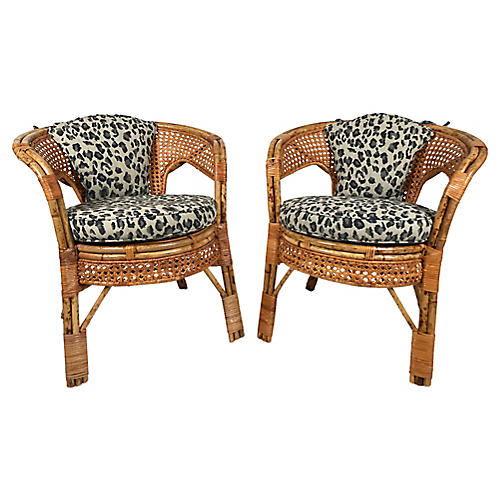 Leopard Print Caned Chairs, Pair