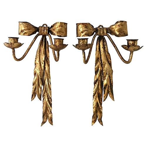 Italian Gilt Ribbon Sconces, Pair