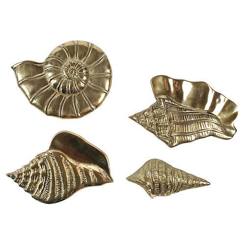 Brass Shell Wall Decor, s/4
