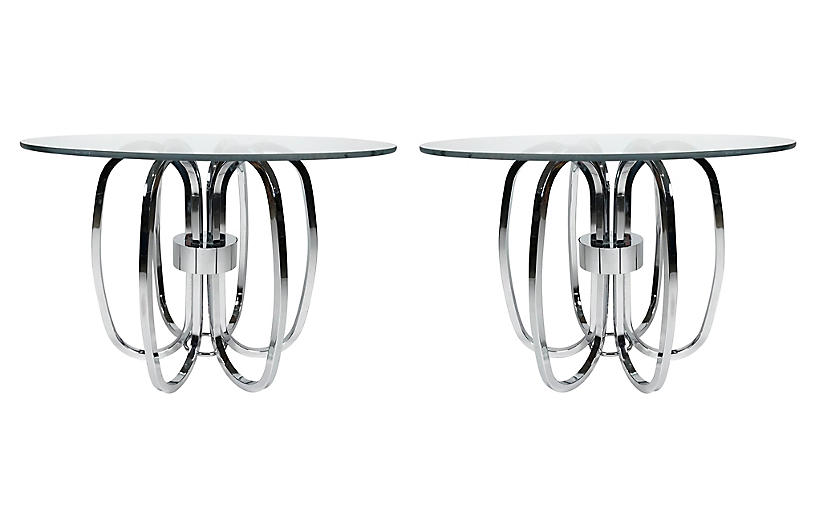 Mid-Century Chrome Ring Side Table, Pair
