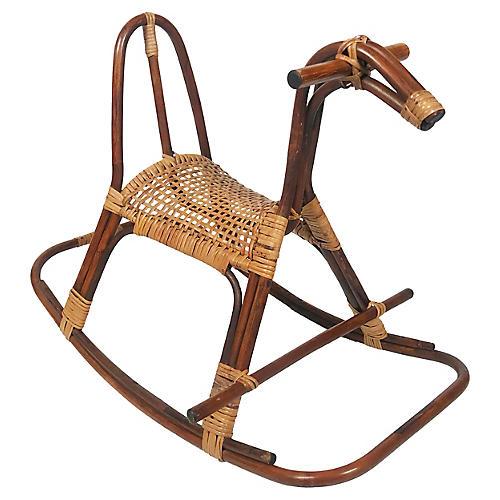 Cane-Seat Rocking Horse