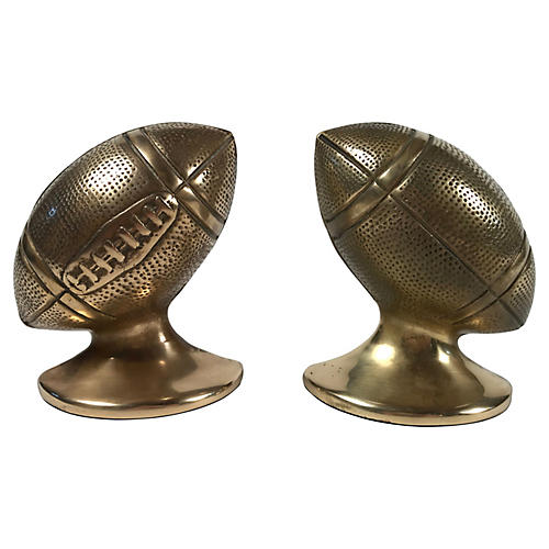 Brass Football Bookends, Pair