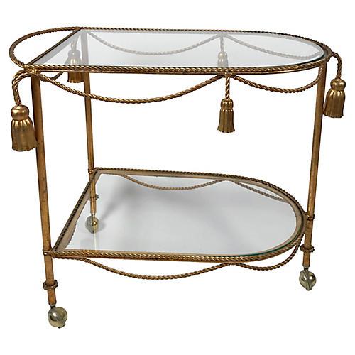 Italian Gilt Tassel Bar Cart