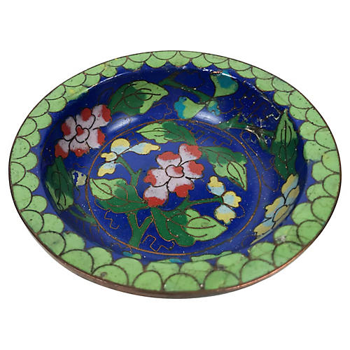 Floral Cloisonné Trinket Dish