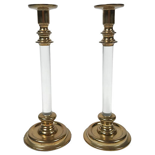 Lucite and Brass Candlestick Pair