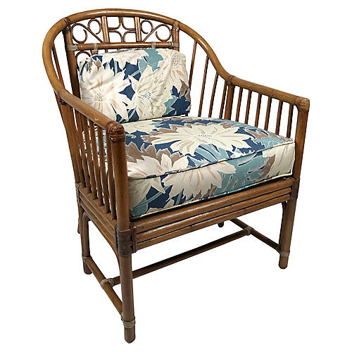 Bamboo Chair w Tropical Upholstery