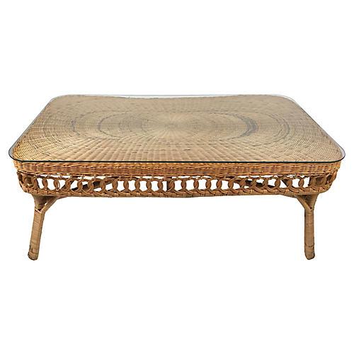 Woven Wicker Coffee Table