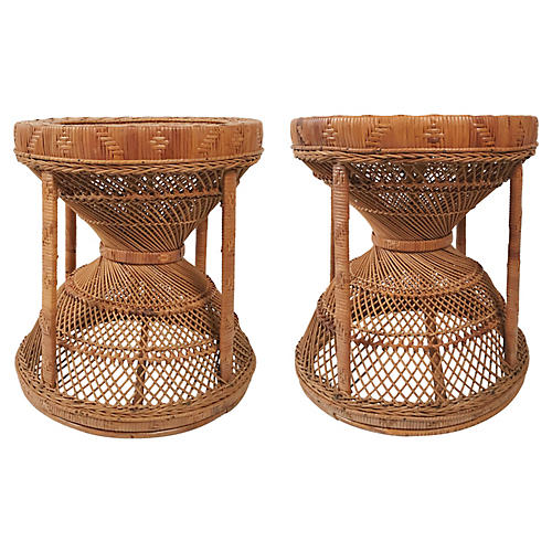 Wicker and Cane Stools, Pair