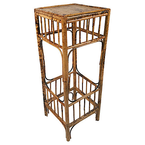 Tall Burnt Bamboo Plant Stand